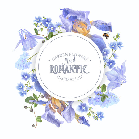 Garden flowers in round banner or frame