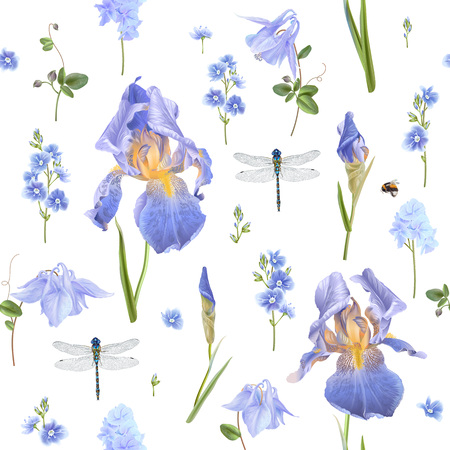 Garden flowers and dragonfly pattern 스톡 콘텐츠 - 96623565