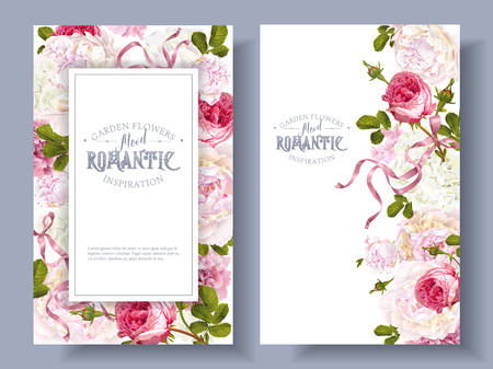 Romantic garden banners set