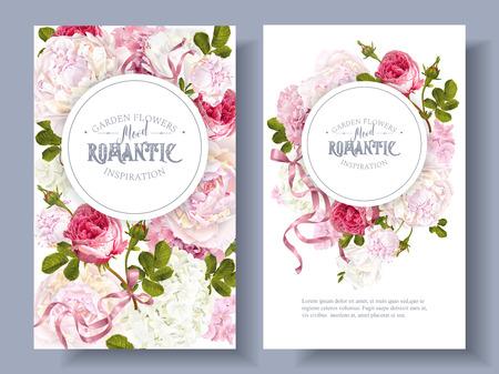 Romantic garden banners set