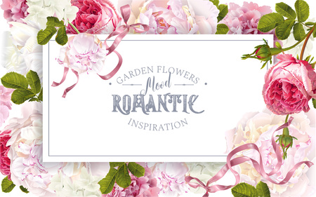 Romantic garden frame with flowers