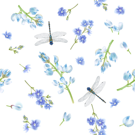 Blue dragonfly pattern Illustration