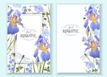 Blue flower banners