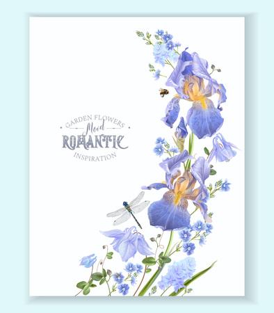 Blue flower wave border illustration on white background.