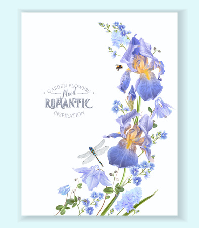 Blue flower wave border illustration on white background.