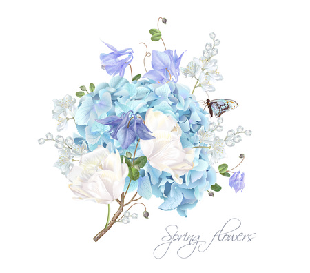 Hydrangea spring composition illustration on white background.