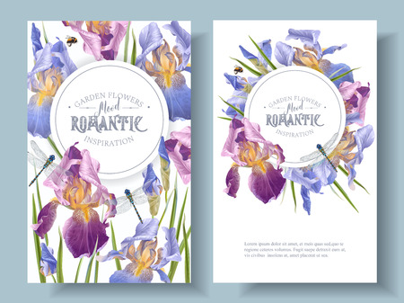 Iris flower round banners illustration Illustration