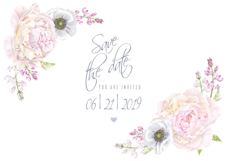 Peony anemone save the date template Vector illustration.