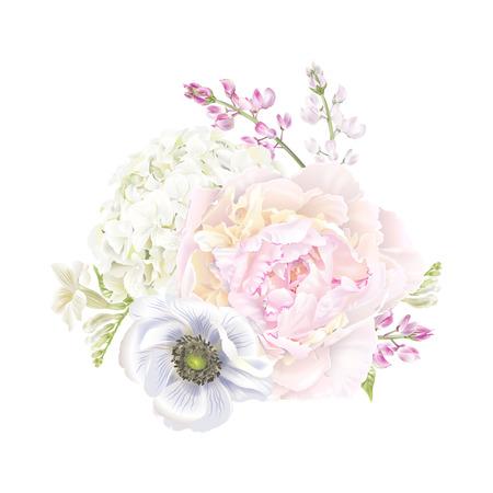 Peony anemone composition. Stok Fotoğraf - 102077221