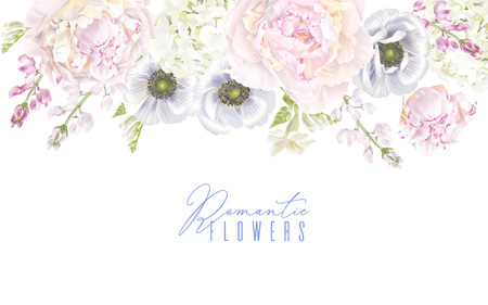 Peony anemone border Vector illustration.
