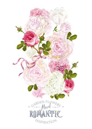 Romantic garden composition Stock Illustratie