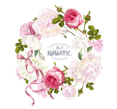Romantic garden wreath