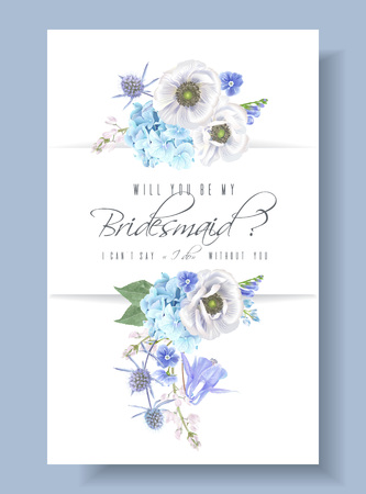 Blue bridesmaid card illustration on gray background.