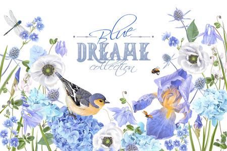 Projekt ilustracji wektorowych transparent ptak niebieski kwiat.