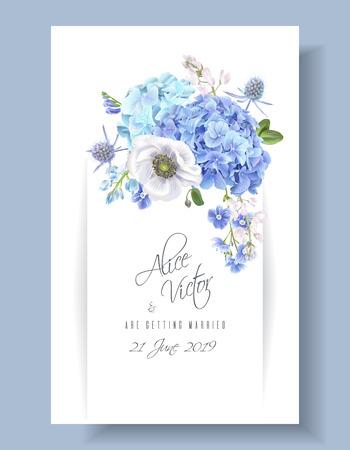 Blue invitation card.