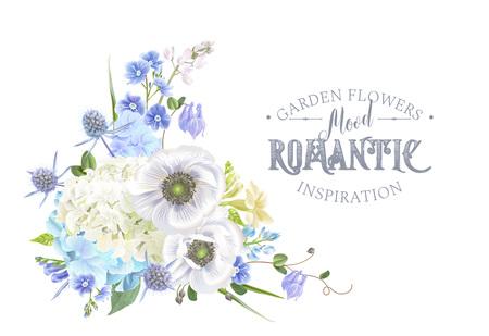 白い背景に青い花の組成物