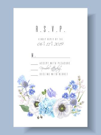 青い花R.S.V.P.カードテンプレート