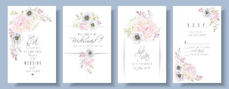Peony anemone wedding invite set