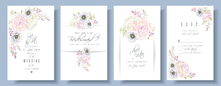 Peony anemone wedding invite set