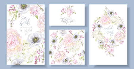 Vector wedding invitation set with peony, hydrangea and anemone flowers on white. Romantic floral design.