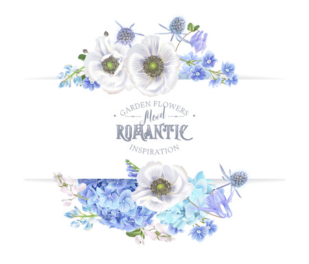 Vector botanical banner with blue flowers isolated on white. Floral design for natural cosmetics, perfume, women products. Can be used for greeting card, wedding invitation,spring or summer background