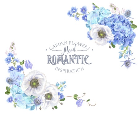 Blue anemone corner banner Stock Illustratie