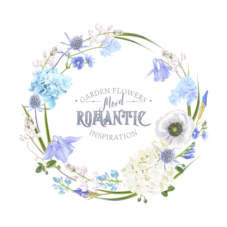 Vector botanical wreath with blue flowers on white background. Floral design for natural cosmetics, perfume, women products. Can be used as greeting card, wedding invitation, spring background Vectores