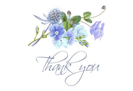Blauwe bloem Bedankkaart Stockfoto - 100786438