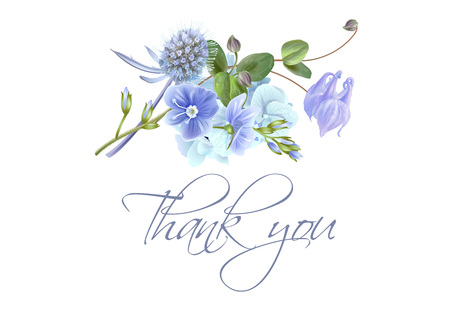 Blue flower thank you card Vettoriali
