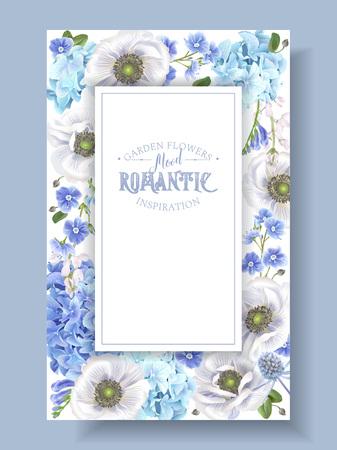 Blue anemone frame Ilustração