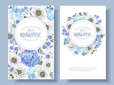 Blue anemone round banners Illustration