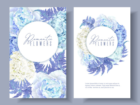 Floral blue round banners Illustration