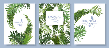 Tropical leaves banners set