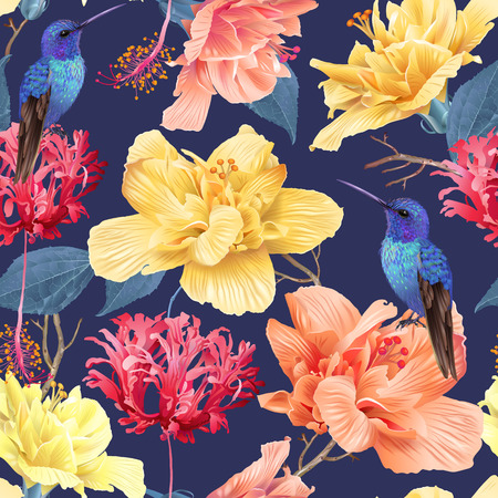 Tropic floral pattern background 스톡 콘텐츠 - 104024302