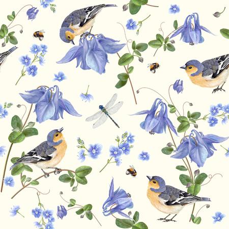 Blue flower bird pattern 스톡 콘텐츠
