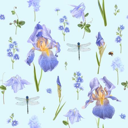 Reticolo senza giunte botanico con fiori blu e libellula su azzurro. Sfondo floreale per cosmetici naturali, profumi, prodotti femminili, biglietti di auguri o di nozze, carta da regalo, tessuto Vettoriali