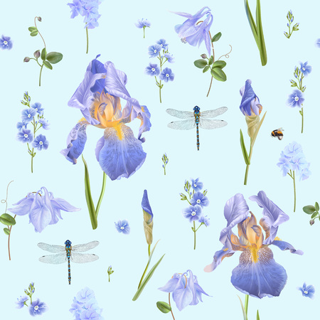 Vector botanical seamless pattern with blue flowers and dragonfly on light blue. Floral background for natural cosmetics, perfume, women products, greeting or wedding card, wrapping paper, fabric