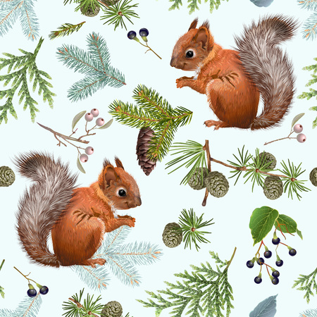 Branches and squirrels pattern