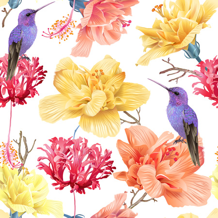 Vector tropical seamless pattern with bright flowers and hummingbird on white. Exotic floral background design for cosmetics, spa, perfume, health care products. Best as wrapping paper Ilustracja