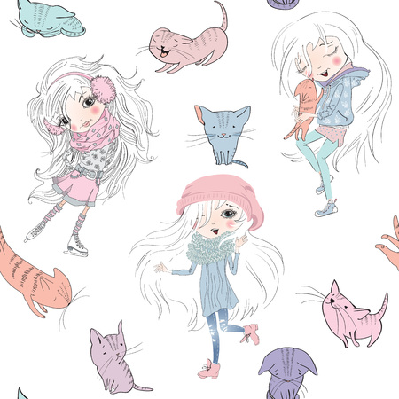 Vector sketch style seamless pattern with girls and cute little kittens. Doodle funny characters for children design. Best for wrap, fabric print, packaging