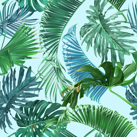 Vector tropical leaves seamless pattern on light blue. Exotic botanical design for cosmetics, spa, perfume, health care products. Can be used as greeting or wedding background. Best for wrapping paper