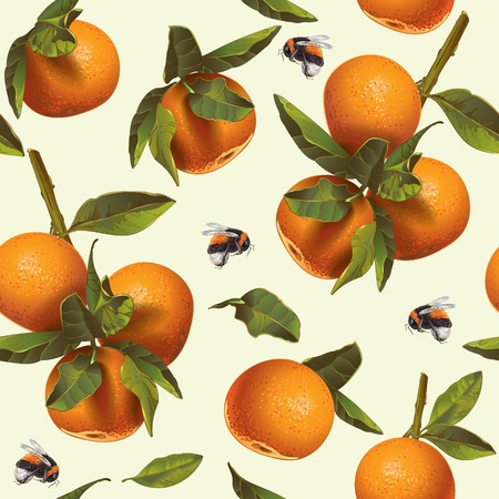 Vector citrus seamless pattern with mandarin fruit and bumblebee. Background design for tea, juice,cosmetics, baking, candy and sweets with citrus filling, jam, grocery. Best for packaging design Vector Illustratie