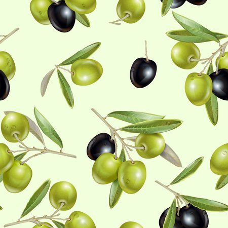 Vector seamless pattern with ripe black and green olives on light green. Background design for olive oil, natural cosmetics, health care products. Best for wrapping papper
