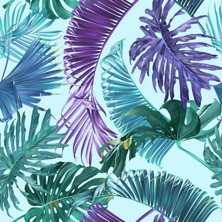 Vector tropical leaves seamless pattern on light blue. Exotic botanical design for cosmetics, spa, perfume, health care products. Can be used as greeting or wedding background. Best for wrapping paper Foto de archivo - 114935675