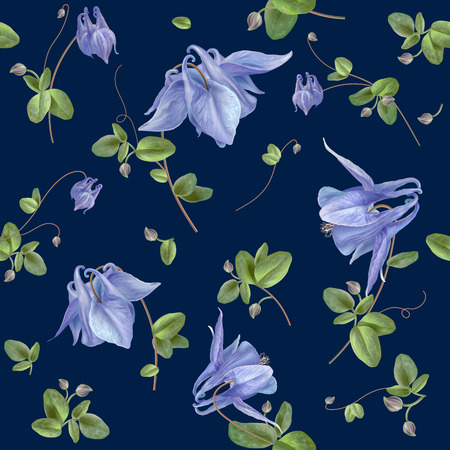 Vector seamless pattern with elegant blue flowers on blue background. Can be used as wedding background, floral design perfume, health care products, greeting cards. Best for wrapping paper