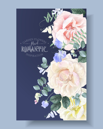 Vector vintage floral rpound border with garden roses and sweet pea flowers on blue. Romantic design for natural cosmetics, perfume, women products. Can be used as greeting card or wedding invitation