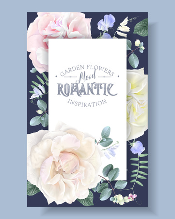 Vector vintage floral banner with garden roses and sweet pea flowers on blue. Romantic design for natural cosmetics, perfume, women products. Can be used as greeting card or wedding invitation Illustration