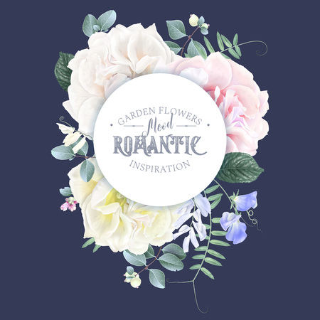 Vector vintage floral rpound banner with garden roses and sweet pea flowers on blue. Romantic design for natural cosmetics, perfume, women products. Can be used as greeting card or wedding invitation Illustration