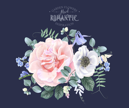 Vector vintage floral composition with garden rose, anemon and bellflower on blue. Romantic design for natural cosmetics, perfume, women products. Can be used as greeting card or wedding invitation Иллюстрация