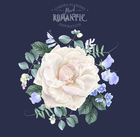Vector vintage floral composition with pale garden roseand sweet pea flowers on blue. Romantic design for natural cosmetics, perfume, women products. Can be used as greeting card or wedding invitation Illustration